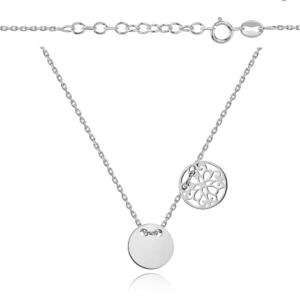 Srebrny rodowany naszyjnik celebrytka dwa elementy pełne i ażurowe kółko
