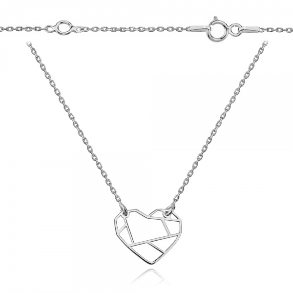 Srebrny naszyjnik origami w kształcie serca