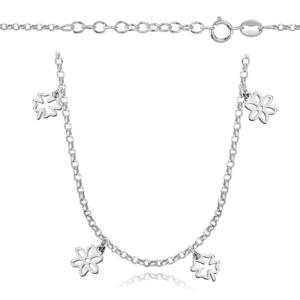 Srebrny rodowany naszyjnik choker z kwiatkami i koniczynkami