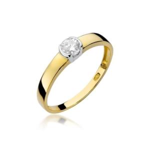 Pierścionek zaręczynowy z żółtego złota pr.585 z brylantem 0,25ct