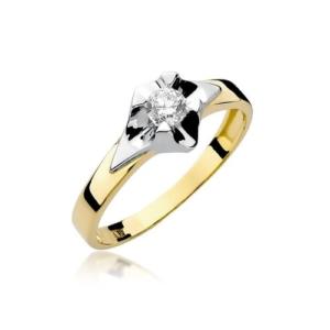 Pierścionek zaręczynowy z żółtego złota pr.585 z brylantem 0,30ct