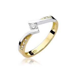Pierścionek zaręczynowy z żółtego złota pr.585 z brylantami 0,16ct