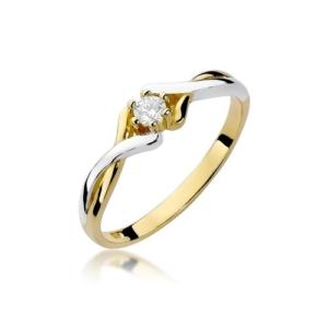 Pierścionek zaręczynowy z białego złota pr.585 z brylantem 0,10ct