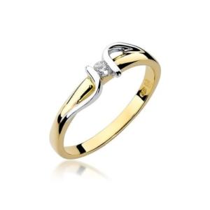 Pierścionek zaręczynowy z żółtego złota pr.585 z brylantem 0,05ct