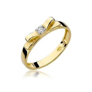 Pierścionek zaręczynowy z żółtego złota pr.585 kokarda z brylantem 0,03ct