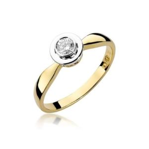 Pierścionek zaręczynowy z żółtego złota pr.585 z brylantem 0,20ct