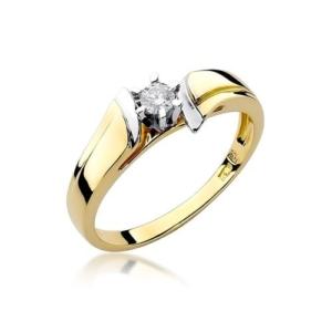 Pierścionek zaręczynowy z żółtego złota pr.585 z brylantem 0,12ct