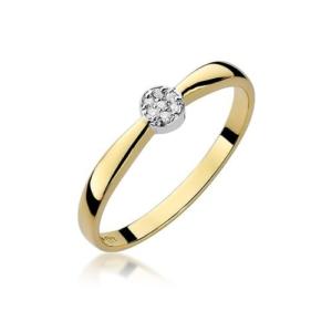 Pierścionek zaręczynowy z żółtego złota pr.585 z brylantami 0,04ct