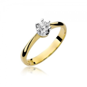 Pierścionek zaręczynowy z żółtego złota pr.585 z brylantem 0,23ct