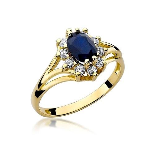 Bardzo dobryFantastyczny Pierścionek zaręczynowy z białego złota pr.585 z szafirem 0,90ct i IH35