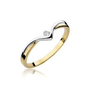 Pierścionek zaręczynowy z żółtego złota pr.585 z brylantem 0,04ct