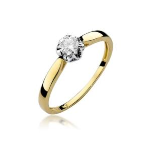 Pierścionek zaręczynowy z żółtego złota pr.585 z brylantem 0,15ct