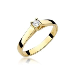 Pierścionek zaręczynowy z żółtego złota pr.585 z brylantem 0,10ct