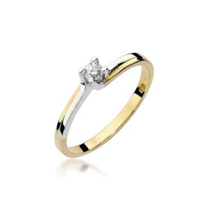 Pierścionek zaręczynowy z żółtego złota pr.585 z brylantem 0,08ct