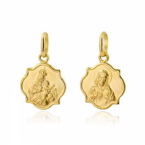 Złoty dwustronny medalik Matka Boska Szkaplerzna Jezus z otwartym sercem pr.333