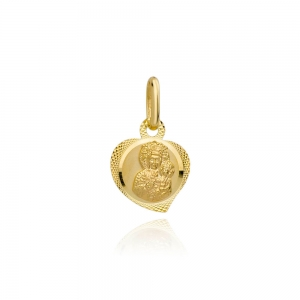 Złoty medalik Matka Boska Częstochowska w sercu pr.333