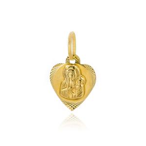 Złoty medalik Matka Boska Częstochowska w serduszku pr.333
